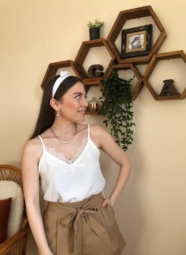 Loves You Dantelli Askılı Bluz Beyaz